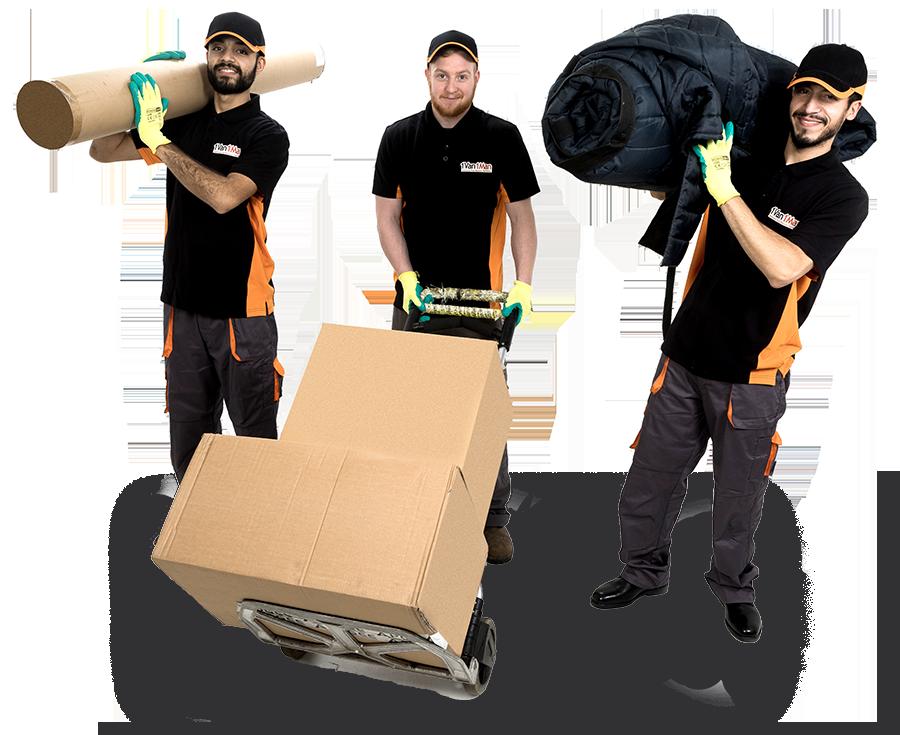 Three removal staff smiling at camera