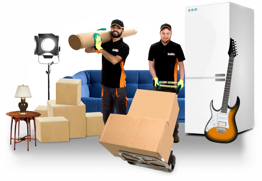 removal men with home furniture and fridge