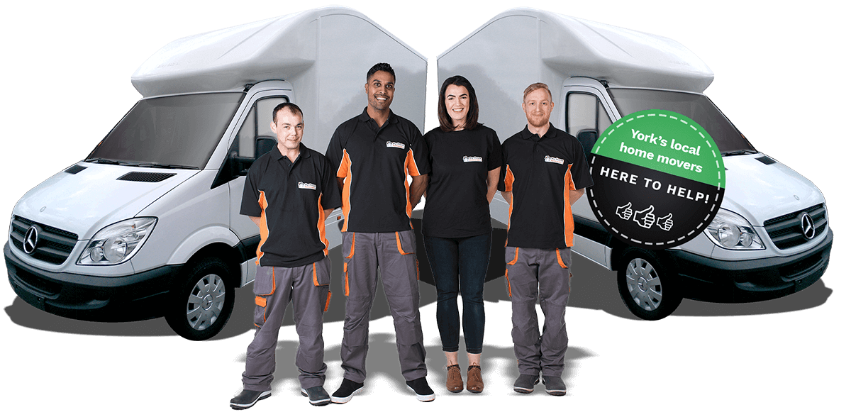 Smiling removal staff in front of Luton box vans